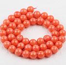 8mm圆形橘色珊瑚